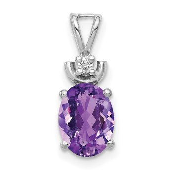 14k White Gold 8x6mm Oval Amethyst AA Diamond Pendant