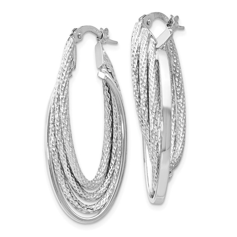 Leslie's Leslie's 14K White Gold Polished & D/C Fancy Hoop Earrings