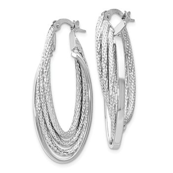 Leslie's 14K White Gold Polished & D/C Fancy Hoop Earrings