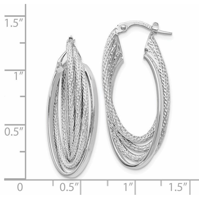 Leslie's Italian Gold Leslie's 14K White Gold Polished & D/C Fancy Hoop Earrings