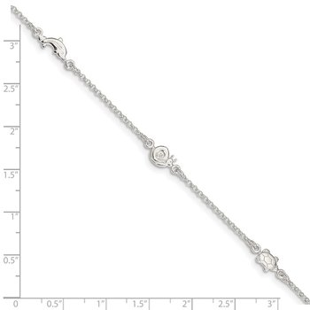 Sterling Silver Polished Animal 9in Plus 1in Ext. Anklet