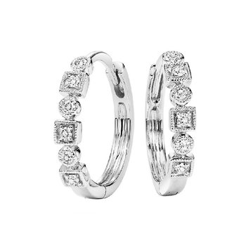 10K White Gold Mixable Bezel Diamond Earrings 1/7CT