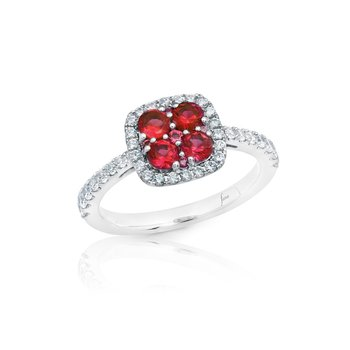 Sweet Serenade Ruby and Diamond Cluster Ring