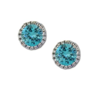 Round Blue Zircon & Diamond Studs