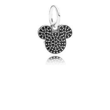 Disney, Sparkling Mickey Icon Charm, Black Cz