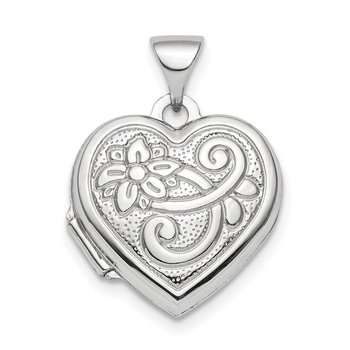 Sterling Silver Rhodium-plated Reversible 15mm Floral Heart Locket Pendant