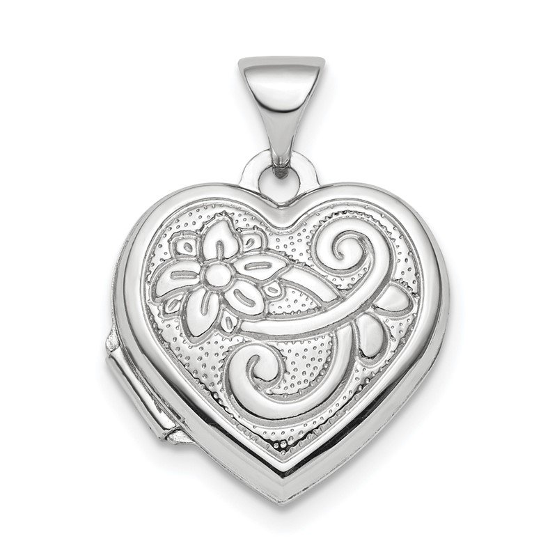 Quality Gold Sterling Silver Rhodium-plated Reversible 15mm Floral Heart Locket Pendant