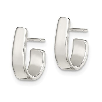 Sterling Silver Fancy J-Hoop Earrings