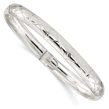 Sterling Silver 7mm Diamond-cut Flexible Bangle