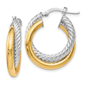 Leslie's 14K Two-tone Polished and Textured Hoop Earrings