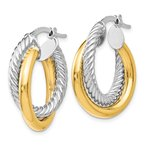 Leslie's Leslie's 14K Two-tone Polished and Textured Hoop Earrings
