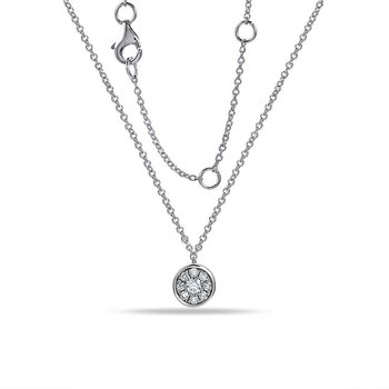 14K Necklace with 9 Diamonds 0.11C TW