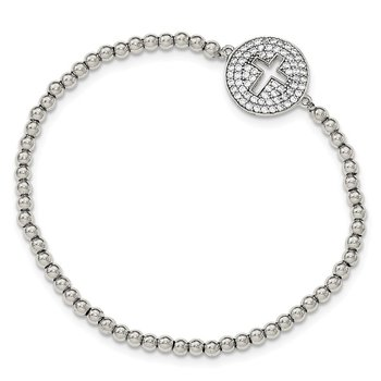 Sterling Silver Rhodium-plated CZ Cross Polished Beaded Stretch Bracelet