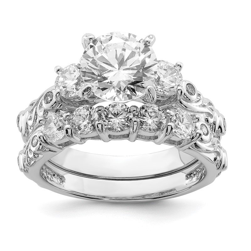 Quality Gold Sterling Silver Rhodium-plated 2-piece CZ Wedding Ring