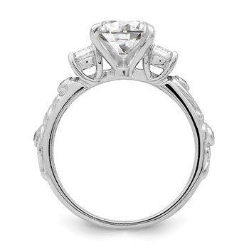Sterling Silver Rhodium-plated 2-piece CZ Wedding Ring