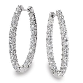 Prong set Diamond Oval Reflection Hoops in 14k White Gold (4.27 ct. tw.) HI/SI2-SI3