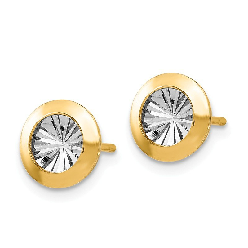 Leslie's Leslie's 14K Rhodium and Polished and D/C Post Earrings