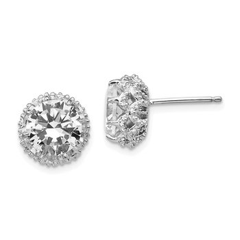 Cheryl M Sterling Silver Rhodium Plated Round CZ Post Earrings