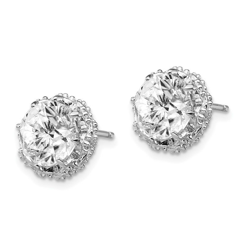 Cheryl M Cheryl M Sterling Silver Rhodium Plated Round CZ Post Earrings