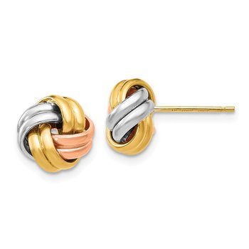 Leslie's 14K w/Rose & White Rhodium Post Earrings