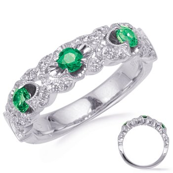 White Gold Tsavorite & Diamond Ring