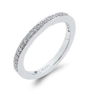 Round Diamond Half-Eternity Wedding Band In 18K White Gold