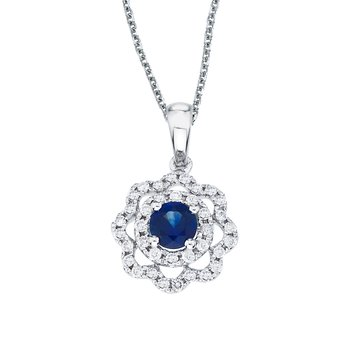 14k White Gold Sapphire and Diamond Round Wave Pendant