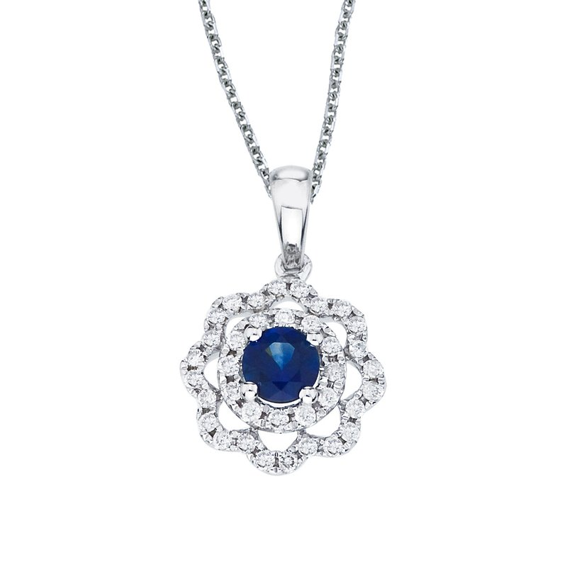 Color Merchants 14k White Gold Sapphire and Diamond Round Wave Pendant