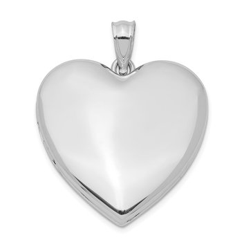 Sterling Silver Rhodium-plated 24mm Plain Heart Locket