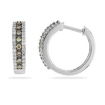14K WG Champagne Diamond Hoops Earring in Prong Setting