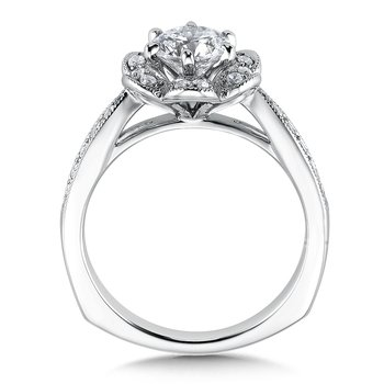 Floral shape halo .37 ct. tw., 3/4 ct. round center.