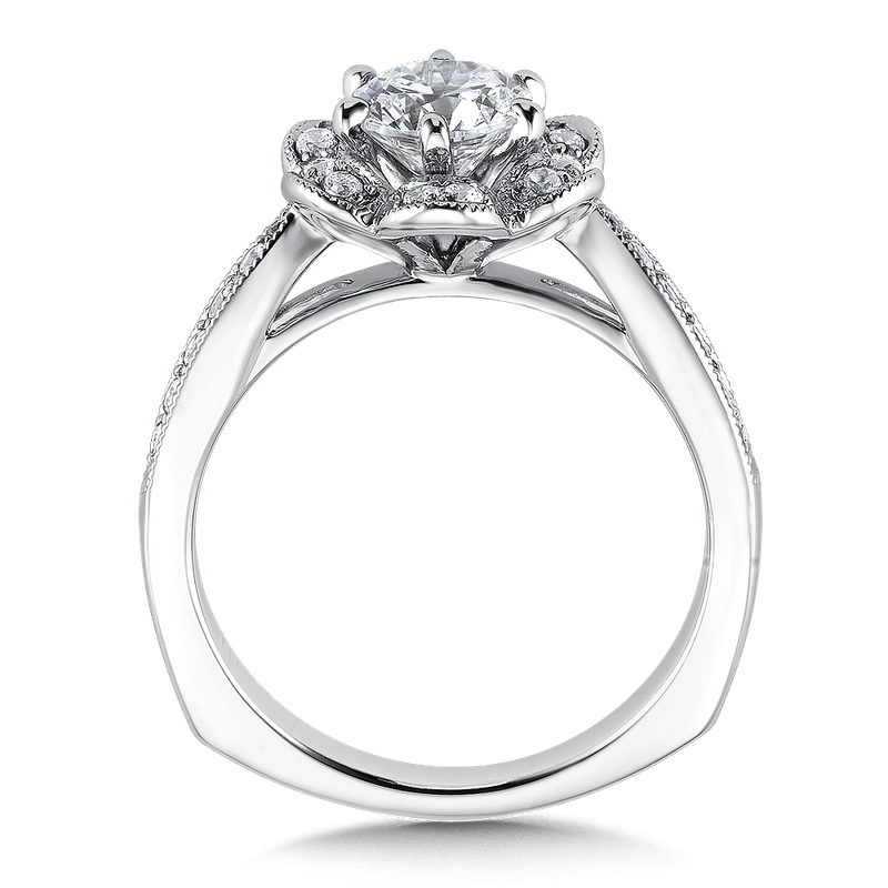 Valina Floral shape halo .37 ct. tw., 3/4 ct. round center.