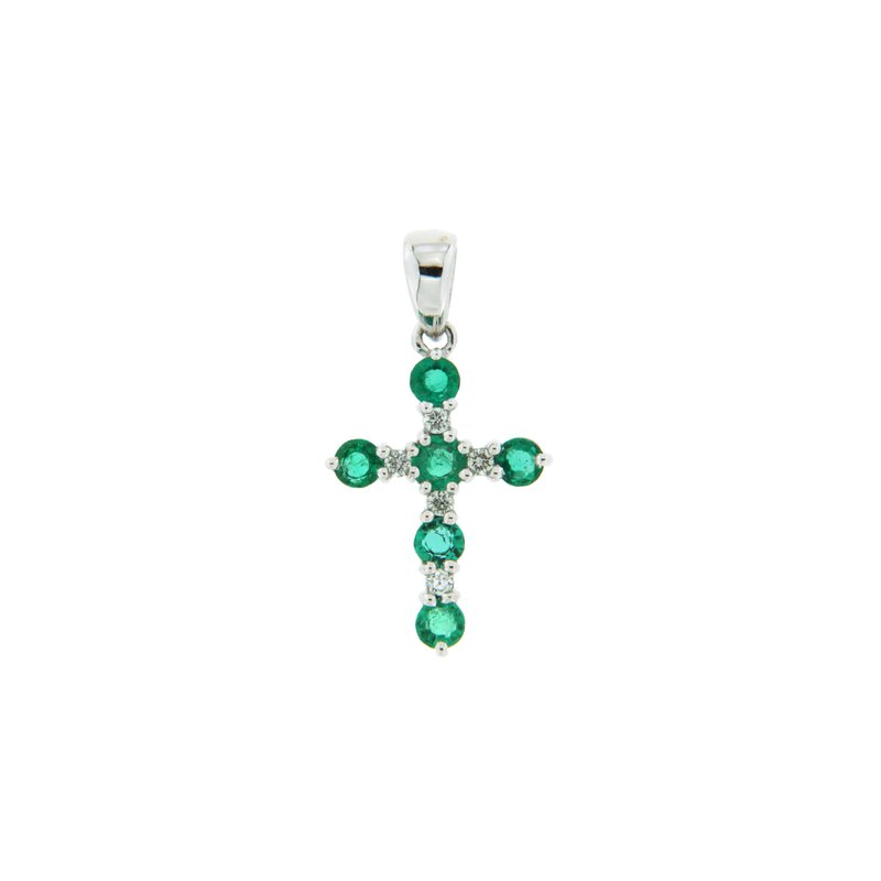 Paragon Fine Jewellery 18k White Gold Pendant with Emerald & Diamond