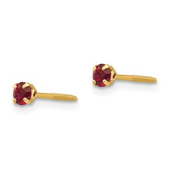 14k Madi K 3mm Synthetic Garnet Earrings