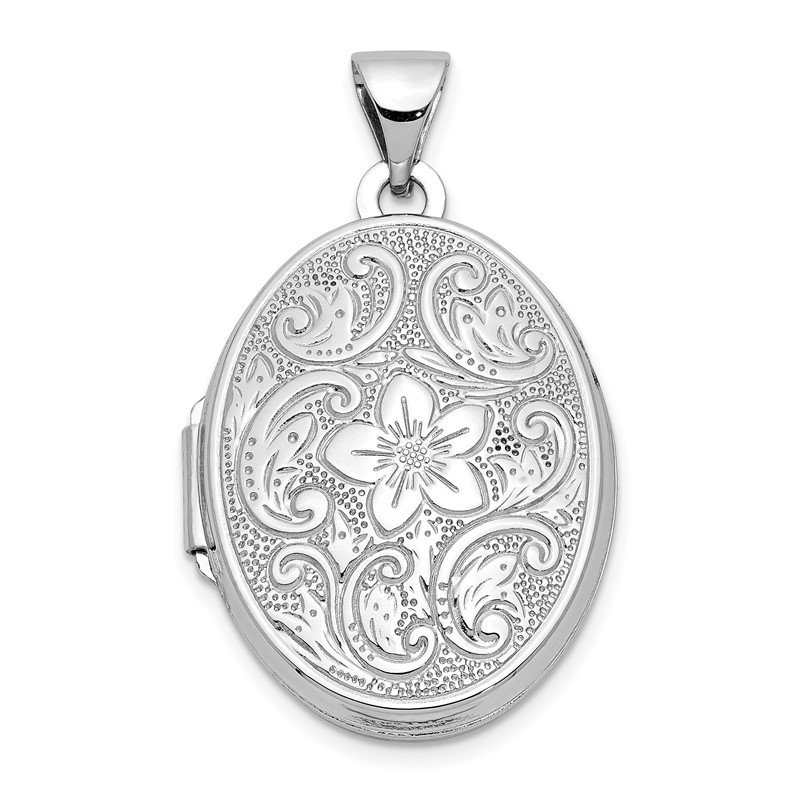Quality Gold 14k White Gold 21mm Oval Floral Scroll Border Locket