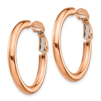 14k Rose Gold 3x20mm Polished Round Omega Back Hoop Earrings
