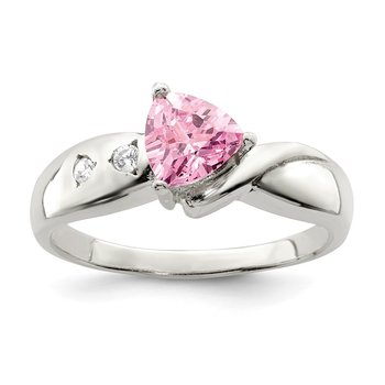 Sterling Silver Pink Trillion CZ Ring