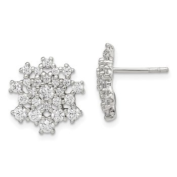 Sterling Silver CZ Cluster Post Earrings