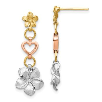 14K Tri-color Brushed & Polished Plumeria Dangle Post Earrings