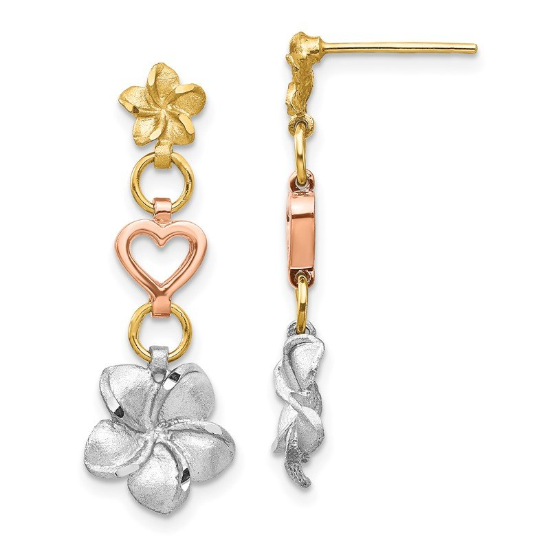 Quality Gold 14K Tri-color Brushed & Polished Plumeria Dangle Post Earrings