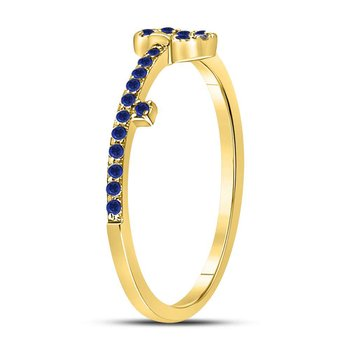 10kt Yellow Gold Womens Round Blue Sapphire Key Stackable Band Ring 1/5 Cttw