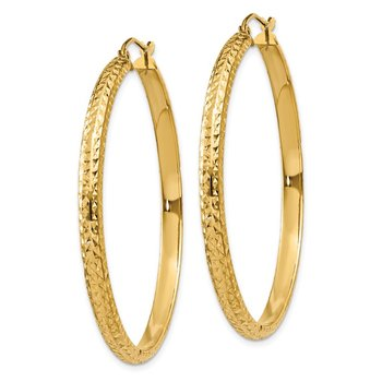 14K Diamond-cut 3.5x46mm Hollow Hoop Earrings