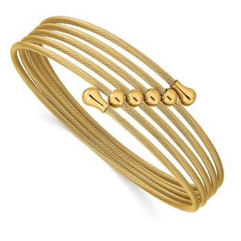Stainless Steel Polished Yellow IP-plated Flexible Coil Bangle