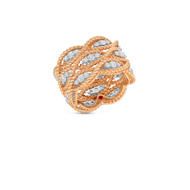 Roberto Coin  #22899 Of 3 Row Ring With Diamonds