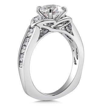 3-Stone Diamond Engagement Ring Mounting in 14K White Gold with Platinum Head (.63 ct. tw.)