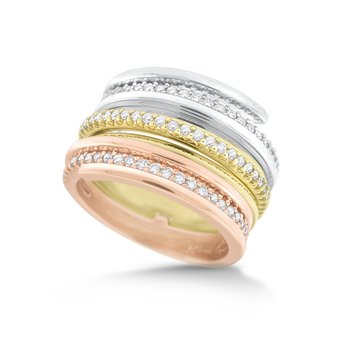 14K Tri-Color Diamond Ring