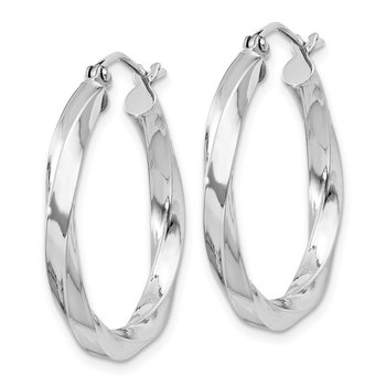 Sterling Silver Rhodium-plated 3x25mmTwisted Hoop Earrings