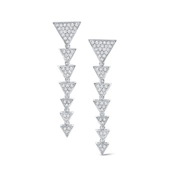 Diamond Triangle Earrings Set in 14 Kt. Gold