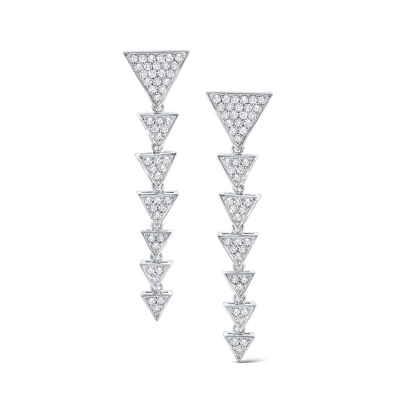 MAZZARESE Fashion Diamond Triangle Earrings Set in 14 Kt. Gold