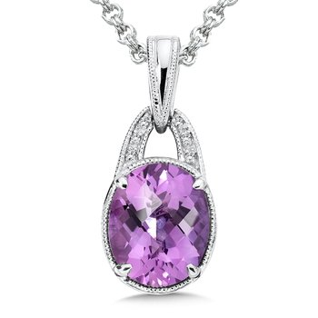 Sterling Silver Amethyst White Diamond Pendant